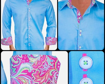 Light Blue with Pink Paisley Men's Designer Dress Shirt - Made To Order in USA