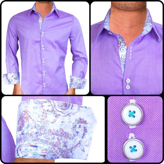 Light purple men 39 s designer dress shirt made to order in Light purple dress shirt men