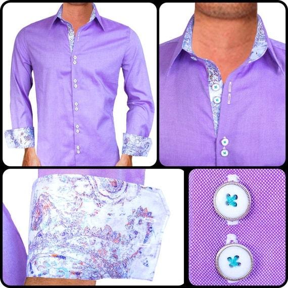 Light purple men 39 s designer dress shirt made to order in Light purple dress shirt men