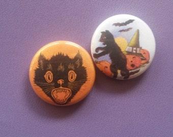 Vintage Halloween Cat Button Set
