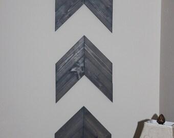 Pine Wooden Chevron Arrows - Set of 3