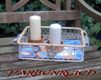 """Table """"Blue Hour"""" with 2 candles."""