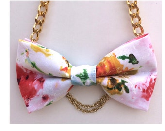 Multi Rose Bow Tie Necklace - Bow Jewelry, Accessories, Statement Necklace - Great for Office, Wedding, Photo Prop - Rose Garden RSOR6