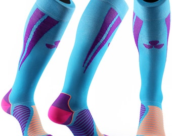 Samson® Blue Purple Compression Sports Socks Athletic Running Made in UK