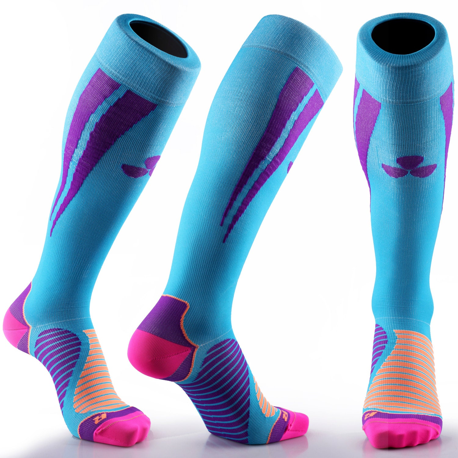 samson174 blue purple compression sports socks athletic running