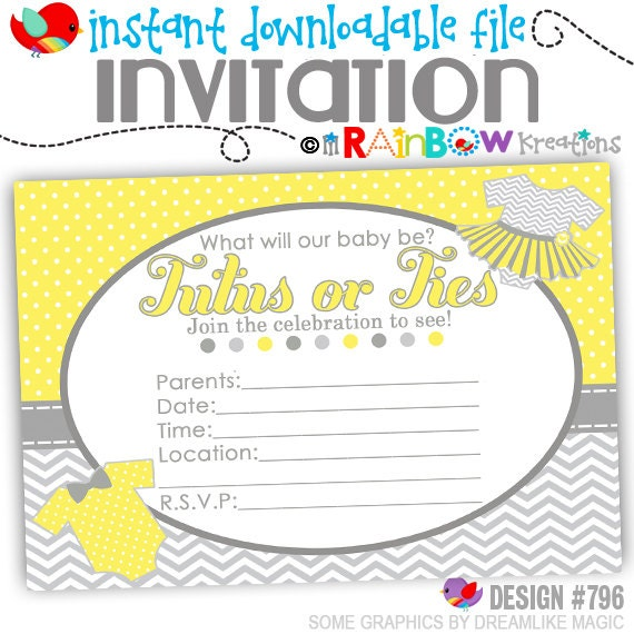 796: DIY - Ties or Tutus Invite and Thank You Card - Instant Downloadable File