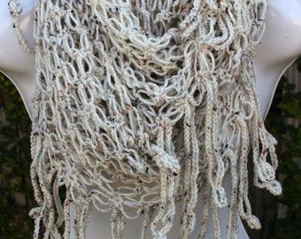Crochet Infinity Scarf - Wheat
