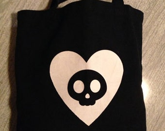 Tote Bag with Heart and Skull