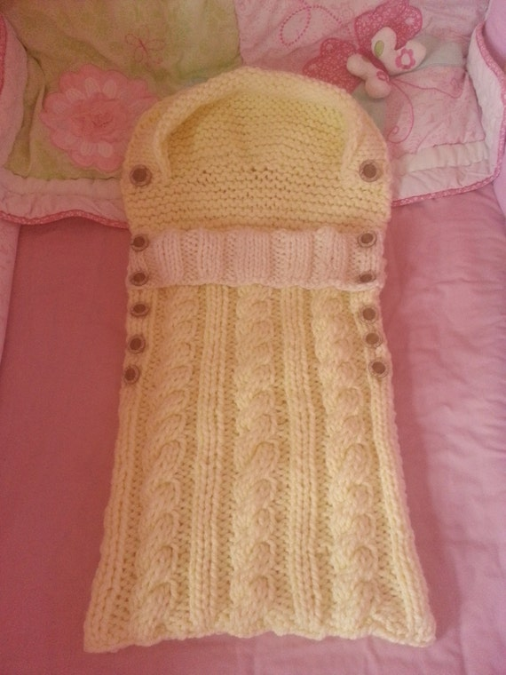 Knitting Pattern....Snuggle Baby Sleeping Bag, mega thick and chunky cable pa...