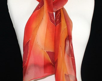 Orange Silk Scarf. Terracotta Hand Painted Silk Scarf. Red Handmade Scarf INDIAN SUNSET. 8x54. Birthday Gift. Anniversary Gift. Gift Wrapped