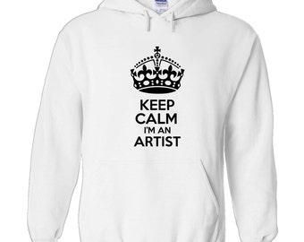 keep calm i'm an artist men's hoody funny humour