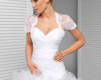 Cap Sleeve Bridal Shrug Alencon Lace Wedding Bolero