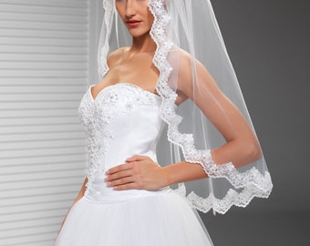 Lace Edge Veil in Ivory or White, Illusion Veil