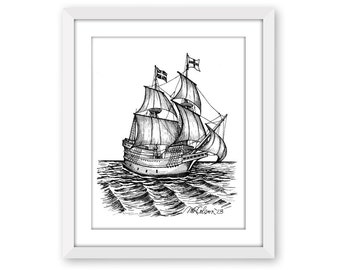 The Mayflower, Pen and Ink Print, 5x7, 8x10, 11x14, 13x19, Pen and Ink, Thanksgiving, Pilgrims, American History, Nautical Art, Home Decor