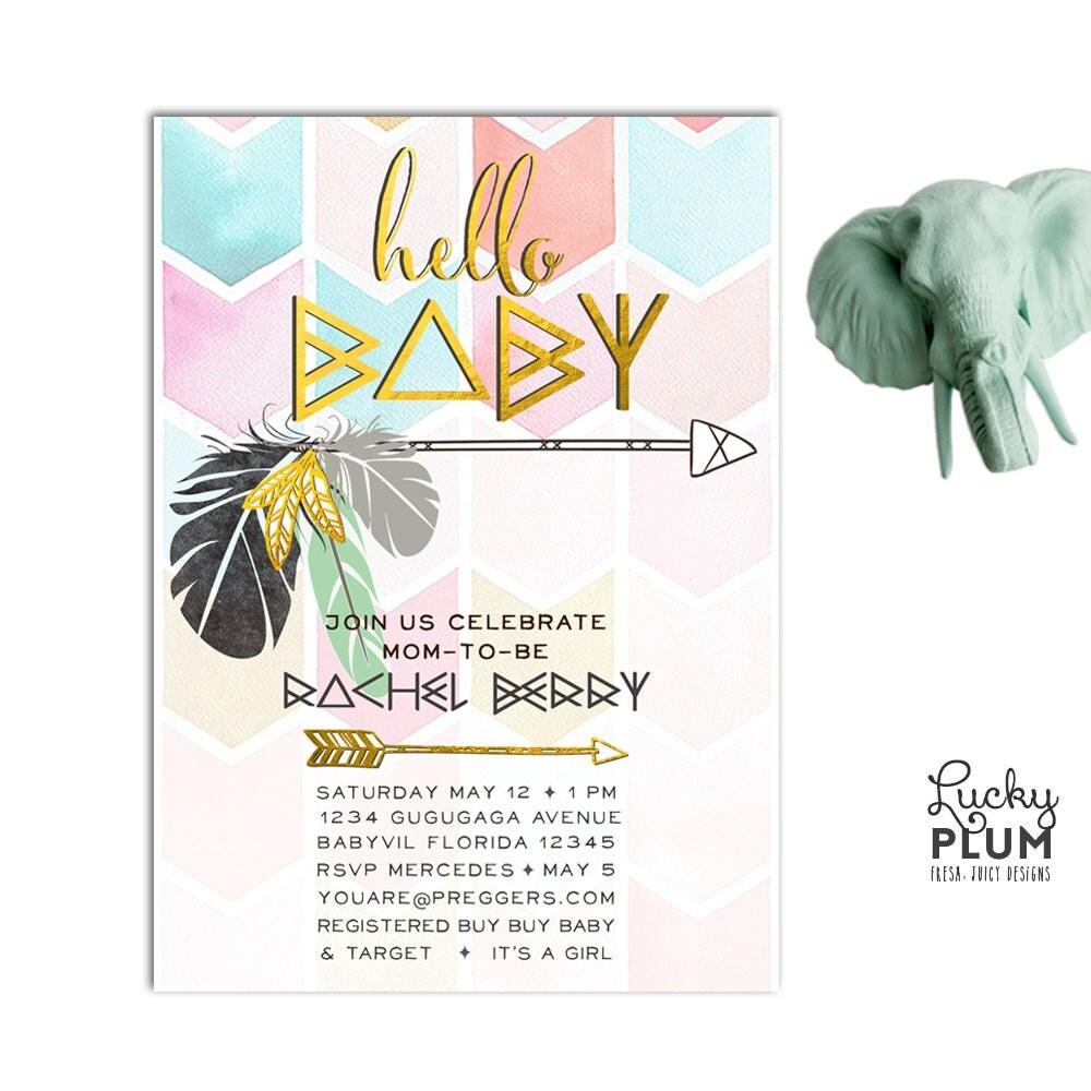 Boho Arrow Baby Shower Invitation Bohemian Feather Invite