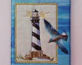 On Sale  Free Shipping, Lighthouse with Sea Gull Fabric Postcard,   Sea Shore, Fiber Art, Quilt Art, Mini Quilt, Keepsake Art, Card