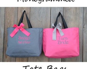 13 Personalized Bridesmaid Gift Tote Bags- Bridesmaid Gift- Personalized Bridemaid Tote - Wedding Party Gift - Name Tote-