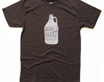 Growler Alley Mens Tshirt, Screenprinted Tshirt, Black Tshirt, Columbus, Ohio