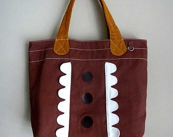 Brown Tote Bag, Clearance SALE Bag, Market Tote, Market Bag, Brown Cream Colors