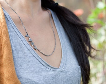 kite tail necklace - geometric necklace - triangle necklace - asymmetrical necklace - layering necklace - silver triangle necklace