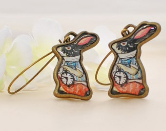 Black and White Dutch Bunny Rabbit Earrings The Timekeepers - Bunny Earrings - Rabbit Inspired - Retro Inspired