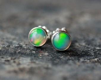 Opal Stud Earrings Sterling Silver Ethiopian Opal October Birthstone Handmade Jewelry 6mm Gemstone Posts Iridescent Shimmer