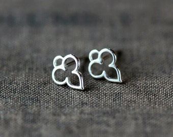 Tiny Mehndi Stud Earrings, India Inspired Sterling Silver Everyday Posts, Pretty Stud Earrings, Delicate and Mini, Handmade Jewelry