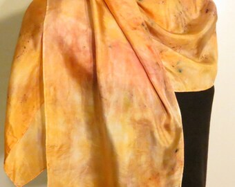 Handpainted hand dyed Silk Scarf Evening Sunset orange pink brown