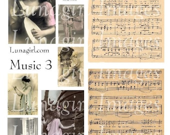 MUSIC 3, digital collage sheet DOWNLOAD vintage photos of women girls, vintage sheet music printable antique ephemera backgrounds altered