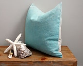 "Hand Dyed Natural Linen Pillow Cover Beach House Turquoise Ombré 16"" x 16""  #1104"