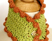 Crochet Cowl Collar with Bobbles - Ecofriendly Bamboo Cotton Autumn Fashion in Chartreuse and Rust