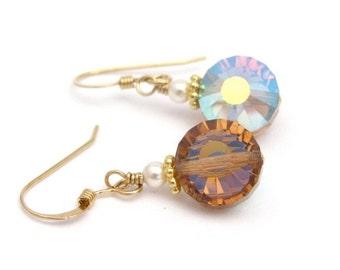 14K Gold Fill Earrings, Topaz Crystal Dangle Drop, Swarovski Crystal Jewelry, White Pearl Vintage Crystals, Topaz Brown