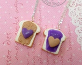 BFF PBJ: Best Friend Peanut Butter Jelly Necklace Set, Best Friend Necklaces, Miniature Food Jewelry, Polymer Clay Food Necklace