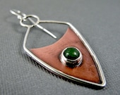 Copper and Sterling Silver Shield Earring with Jade Cabochon - Single Earring or Pendant - Asymmetrical - EAD2015 46/365
