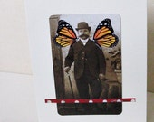 Greeting card, Man, collage, one of a kind, matching envelope, Butterfly Man 2, Father's Day