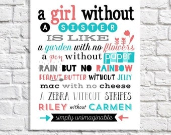 Personalized Sister Quote Print. Big Sister Little Sister Birthday Gift. Bridesmaid Maid Of Honor Gift. Sister Poem Print. Girls Wall Art