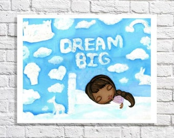 Dream Big Little Girl Art Print African American Children's Art Kid Room Decor Inspirational Quote Nursery Art Little Black Girl Picture