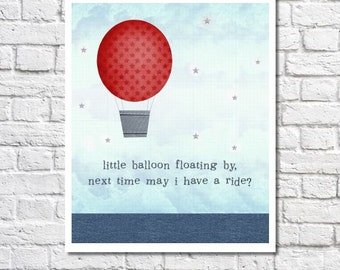 Hot Air Balloon Nursery Decor Baby Boy Quote Navy And Red Nursery Wall Art Little Boy Room Decor Children's Art Print Unique Nursery Picture