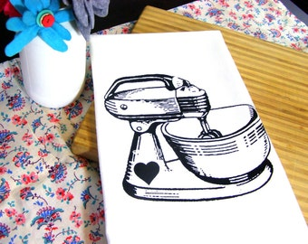 Baking Kitchen Towel Red Mixer Tea Towel CUTE kitchen towels screen print retro Indie Housewares Gifts for cooks