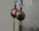 Tassel Earrings Featuring Vintage Japanese Tensha Flower Beads Delicate Antiqued Brass Chain and Niobium Hooks