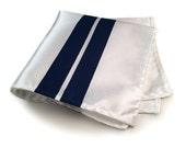 White & blue racing stripes pocket square. American livery handkerchief. True blue screenprint on white. Automotive enthusiast men's gift.