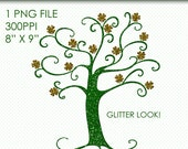 St. Patrick's Day Clip Art Glitter Tree, Glitter Graphics, St. Patty's Day Clipart, Shamrock Tree, Shamrocks, Glitter Clip Art, Digital Art