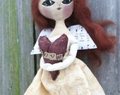 Primitive Angel Doll Valentine Folk Art LOVE
