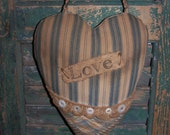 Valentine Heart Door Hanger, Primitive Heart Pocket, Antique Quilt, Vintage Ticking, Blue & White Heart, Love Heart
