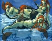 Arctic Mermaids - satirical fantasy art print by Nancy Farmer