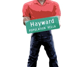 For the love of Hayward, CA. Giclee Print. 5x7. Archival, 100% Cotton rag paper Mike the Muffler Man, Americana Art, SF Bay Area Art, pop