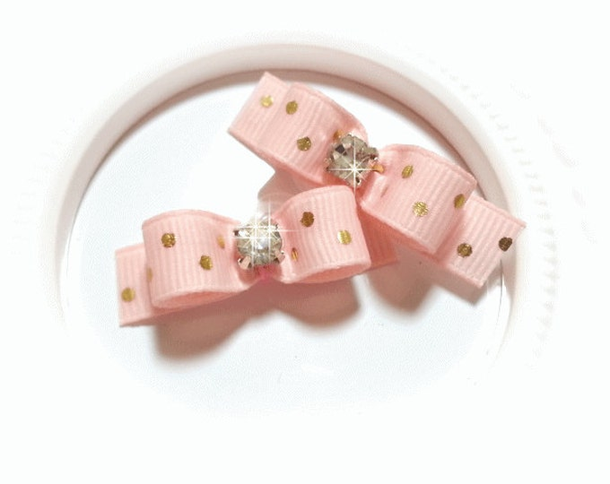 Small Dog Bows, Pink with Gold Dots Pet Hair Bow, Rhinestone Dog Bow, Pink Pet Bow