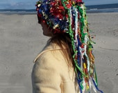 Crazy crochet hat, hat with dreads, boho hat, womens hat, funky hat, unique hat, shabby chic hat, unusual hat, weird hat