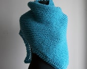 Hand Knit Shawl Wrap Stylish Comfort Prayer Meditation, Turquoise Blue, Acrylic Vegan, Ready to Ship, FREE SHIPPING