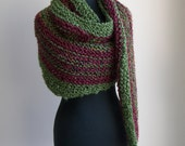 Hand Knit Shoulder Shawl Scarf Cowl Wrap, Stylish Comfort Prayer Meditation, Ruby Green Multicolor, Vegan, Ready to Ship, FREE SHIPPING